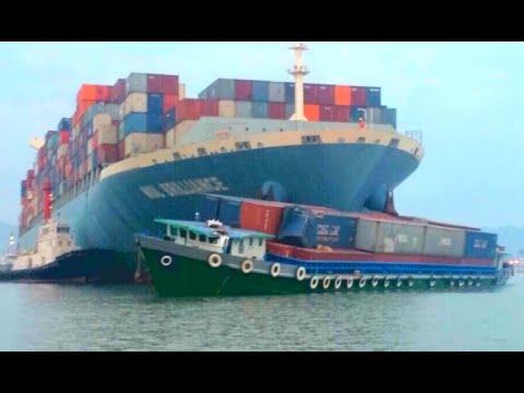 பெரிய கப்பல்களின் விபத்துக்கள்   Largest Container Ships Crashing & Collision at Giant Waves In Storm