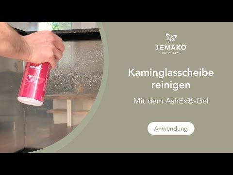 Kaminglasscheibe ganz einfach reinigen mit dem JEMAKO AshEx®-Gel