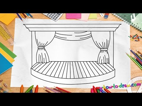 How to draw a Stage - Easy step-by-step drawing lessons for kids