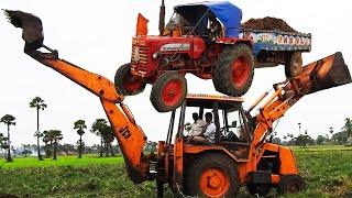 CRAZY JCB & Tractor Mahindra Truck Skills In Mud Transport Vehicle!!