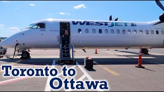 Full Flight: WestJet Encore Dash 8 Q400 Toronto to Ottawa (YYZ-YOW)