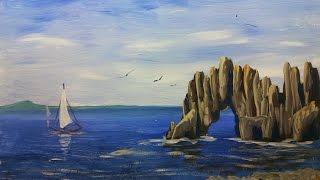 Смотреть онлайн Рисуем морской пейзаж гуашью для начинающих