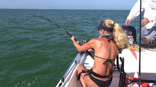 Best Fishing Fail Video: Big SHARK tries to pull girl overboard twice