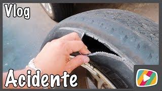 O pneu rasgou e por pouco não houve um acidente