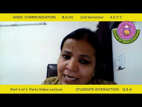 HINDI COMMUNICATION - PART - 4 By - DR. RAJ KUMARI SHARMA