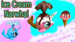 Custom LPS Narwhal Chocolate Rainbow Sprinkle Ice Cream DIY Littlest Pet Shop Craft