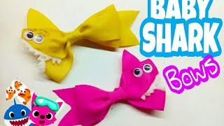 Baby shark bows-Канзаши-moños de baby shark