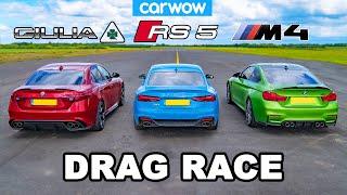 [carwow] BMW M4 vs Audi RS5 vs Alfa Giulia Quadrifoglio: DRAG RACE