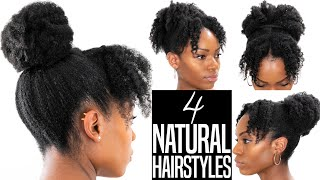 4 NATURAL HAIRSTYLES (Twist Out Updo Hairstyles With Bangs/Fringe) (4b/4C Hair)