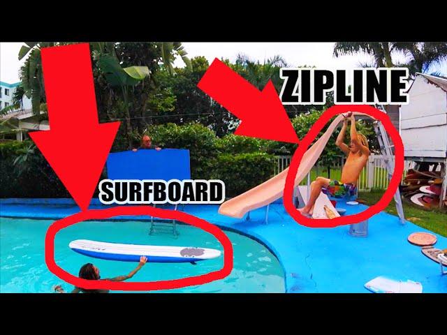 ZIPLINE SURFING ACROSS THE WHOLE POOL!!!! | JOOGSQUAD PPJT