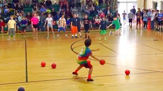 Kid Beats Entire Dodgeball Team in 30 Seconds