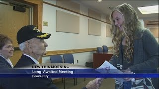 97-year-old veteran meets girl who wrote 'Thank you' letter