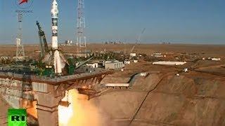 Старт ракеты с олимпийским факелом на МКС