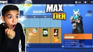 Surprising Little Brother With Fortnite Season 5 *Max* Battle Pass! He Freaked Out!