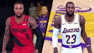 NBA 2K19 - Portland Trail Blazers vs. Los Angeles Lakers - Full Gameplay (Updated Rosters)