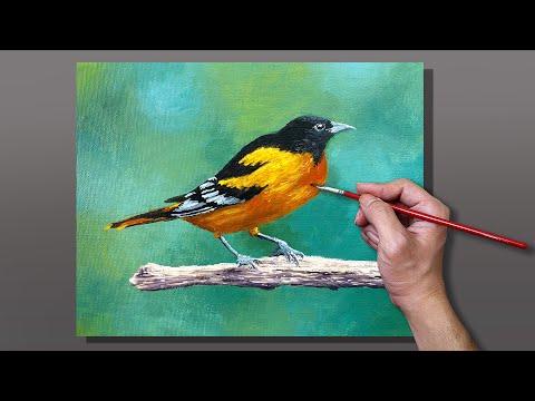 beautiful acrylic painting bird on branch by correa art