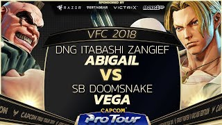 DNG Itabashi Zangief (Abigail) vs SB Doomsnake (Vega) - Versus Fighting Cup 2018 Top 8 - CPT 2018