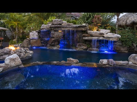 Lucas Lagoons - Siesta Key Rock Waterfall Pool with Grotto, Spa and Stream