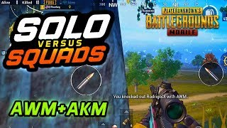 ANYTHING BUT THE M-16! SOLO vs SQUADS (AWM/AKM) - PUBG Mobile