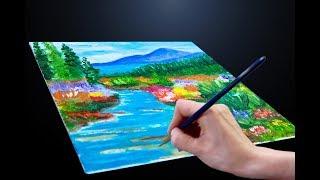 Горный пейзаж /простая картина маслом /impressionist landscape for beginners