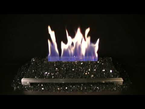Alterna Black FireGlitter Set for See-through Fireplaces - Vent-Free Stainless steel Chassis Burner