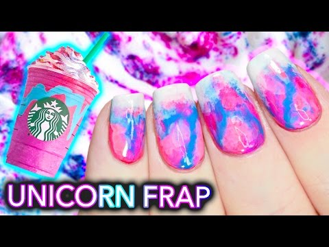 DIY Starbucks Unicorn Frappuccino Nail Art