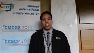 Mr. Karl Ezra Pilario at CCECP Conference 2015 by GSTF Singapore