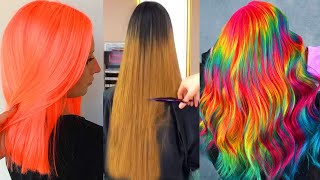 Best Long Hair Cut Transformation Tutorial! Trending Rainbow Neon Colorful Hair Color Compilation