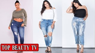 TOP ripped jeans, plus size ripped jeans for women