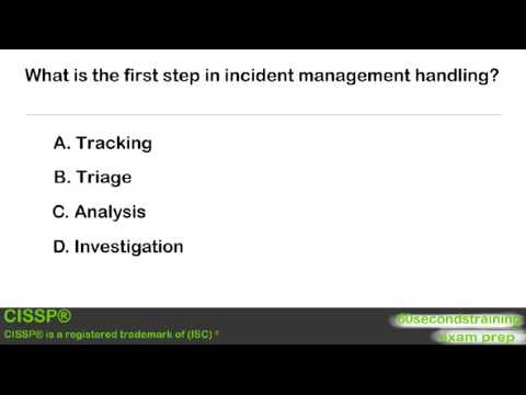 CISSP - practice exam - first step in incident management - YouTube