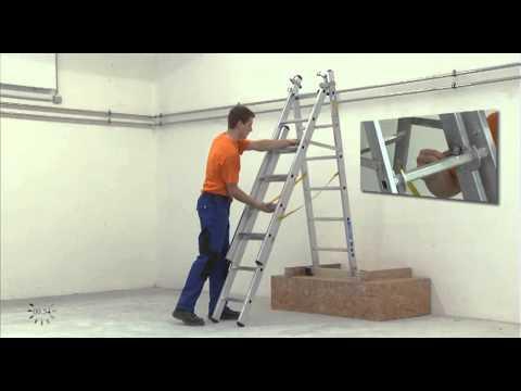 ZARGES Aufbauvideo: Mehrzweckleiter in Treppenstellung