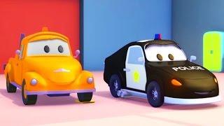 Tom la Grúa y el Coche de Policía en Auto City   Autos y camiones dibujos animados para niños