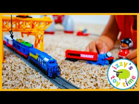 Toy Trains For Kids! POWER TRAINS CRANE CITY SUPER SET