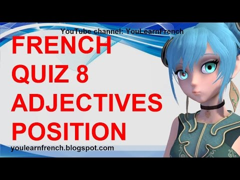 French Quiz 8 Test French Adjectives Position Before After Noun