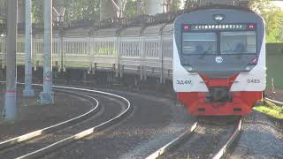 Электропоезда ЭД4М-0485, ЭГ2ТВ-001 Иволга платформа Матвеевское 17.09.2018