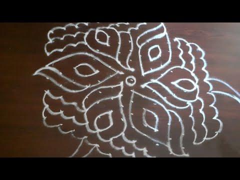 Easy lotus rangoli design with 15×8 dots