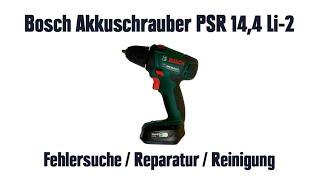 Bosch Akkuschrauber PSR 14,4 Li-2 – Fehlersuche / Reparatur / Reinigung (Motor raucht, qualmt)
