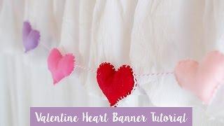 DIY Valentines Felt Heart Plush Banner - Easy Valentines Day Decor
