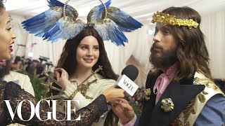 Lana Del Rey and Jared Leto on Their Gucci Ensembles | Met Gala 2018 With Liza Koshy | Vogue - Video Youtube
