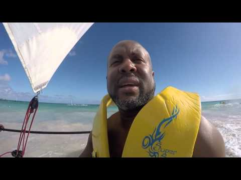 Hobie Cat sailing at Sandals Barbados brought to you by Majestic Dream Vacations!