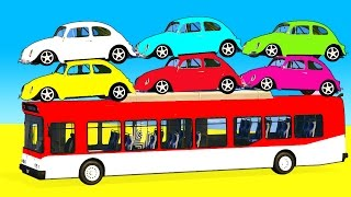 FUN COLOR Cars on Bus & Spiderman Cartoon with Superheroes for kids and babies!