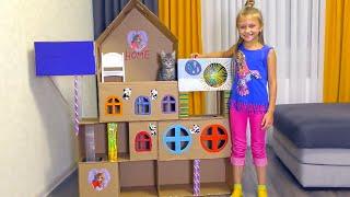 ДОМИК ДЛЯ КОШКИ из картона своими руками   Видео для детей   Tiki Taki Cook