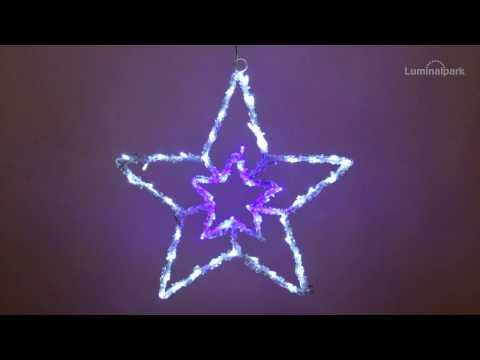 Acryl-Stern h 38 cm, 60 LEDs blau und kaltweiß (Code 30534)