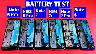 Redmi Note 8 vs Redmi Note 7 Pro vs Redmi Note 7s vs Redmi Note 7 Battery Drain Test  