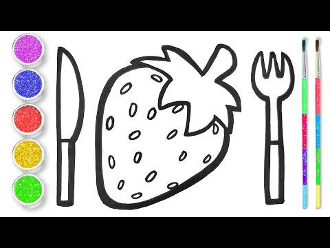 Drawing and Coloring Strawberry Glitter and Dining Tool Sets for Children
