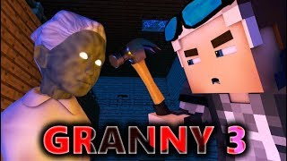 GRANNY IN MINECRAFT 3! Horror Game ANIMATION - Day 3