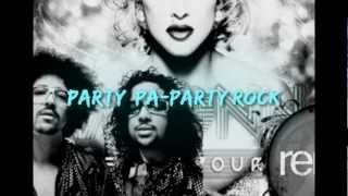 Madonna Ft Lmfao ( nicki minaj ) Give me all your love ( remix ) + lyrics on the screen
