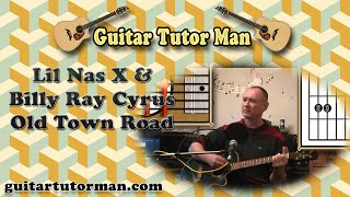 Old Town Road - Lil Nas X & Billy Ray Cyrus - Acoustic Guitar Lesson (easy)