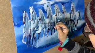 Acrylic Painting Of Seven Horses With A Night View/