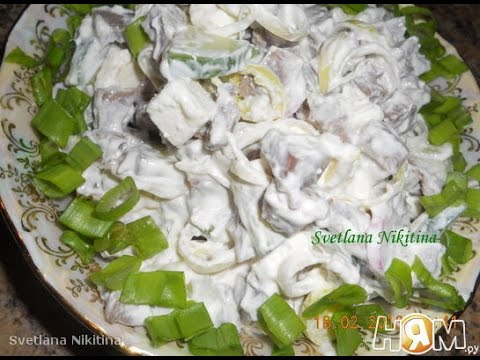 Салат из языка с брынзой  Пошаговый рецепт с фото